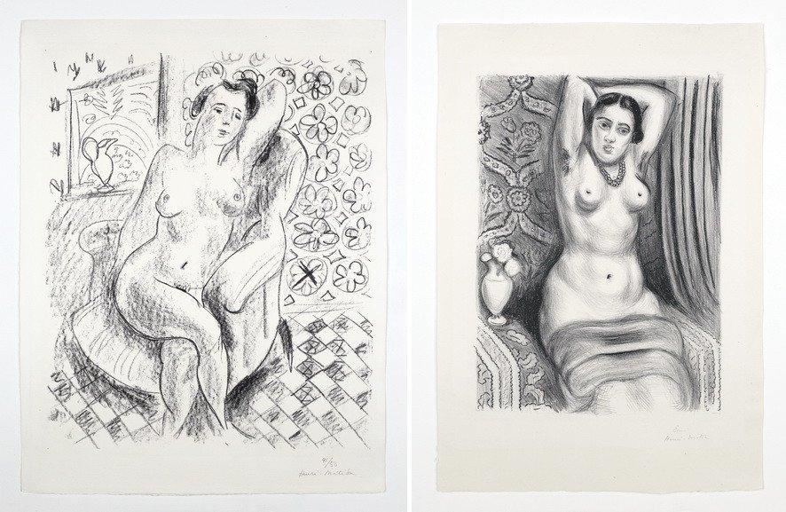 Left Henri Matisse - Nu au fauteuil sur fond moucharabieh Right Henri Matisse - Torse a laiguiere