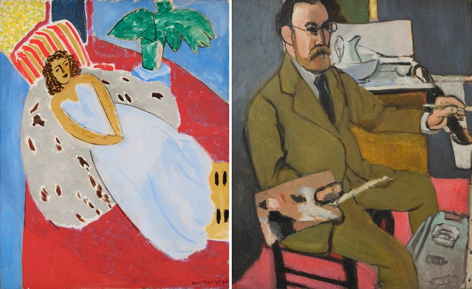 Left Henri Matisse - Young girl in White, background red Right Henri Matisse - Autoportrait