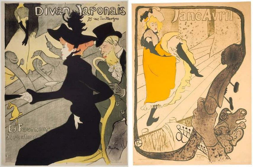 Left Henri de Toulouse Lautrec - Divan Japonais Right Henri de Toulouse - Lautrec - Jane Avril