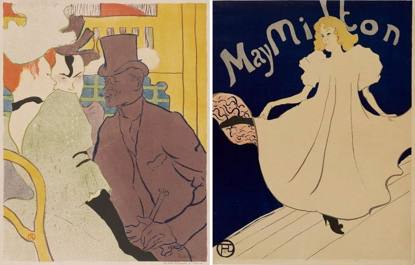 Left Henri de Toulouse-Lautrec - Englishman at Moulin Rouge Right Henri de Toulouse-Lautrec - May Milton