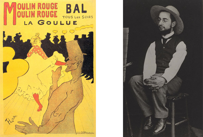 Left: Henri de Toulouse-Lautrec - Moulin Rouge La Goulue, 1891 / Right: Henri de Toulouse-Lautrec portrait