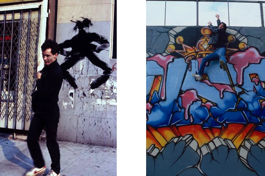 Henry Chalfant - Richard Hambleton hits wall with his Shadow Man, 3rd Avenue, the Bronx, 1982, SEEN at his MADSEEN mural in the East Bronx, 1985
