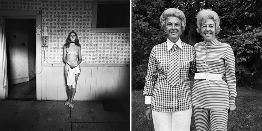 Left: Henry Horenstein - Frances, Dorchester, MA, 1971. Vintage gelatin silver print, 20 x 16 in sheet, 14.75 x 14.75 in image / Right: Henry Horenstein - Hosts, Charity Party, Newton, MA, 1972. Vintage gelatin silver print, 14 x 11 in sheet, 10.5 x 10 in image