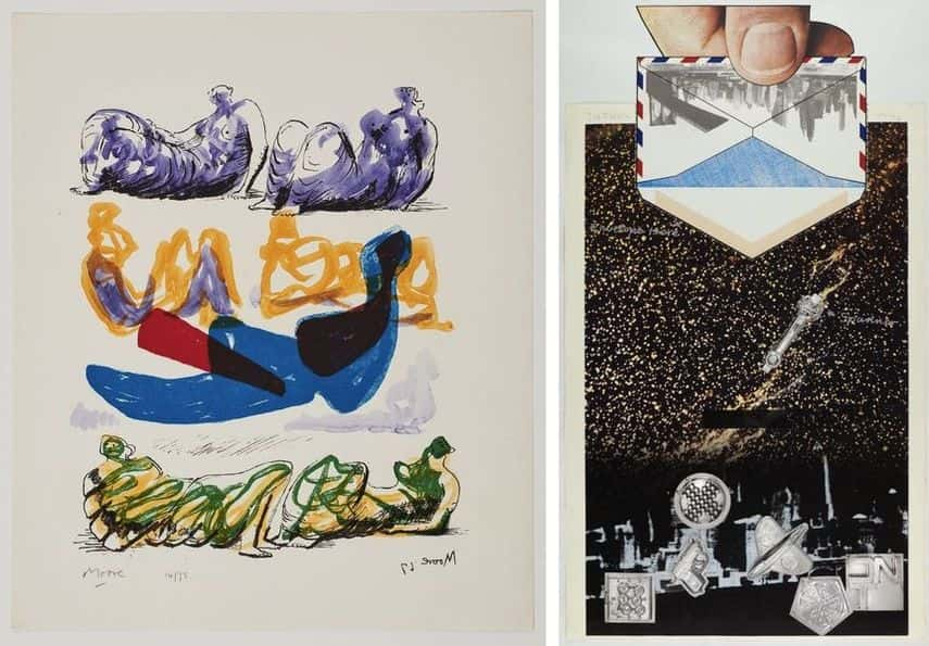 Henry Moore - Reclining Figures with Blue Central Composition, 1967, Joe Tilson - Sky One, 1967