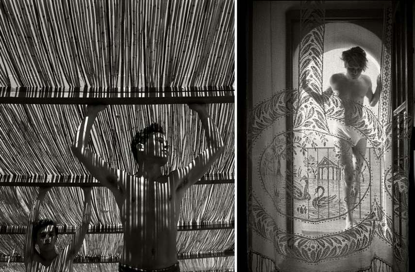 Left Herbert List - Young Men Under a Reed Roof Right Herbert List - Young man behind curtain