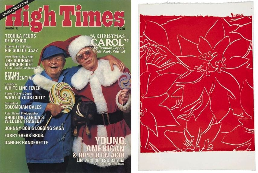 High Times Christmas Cover, Poinsettias news cards