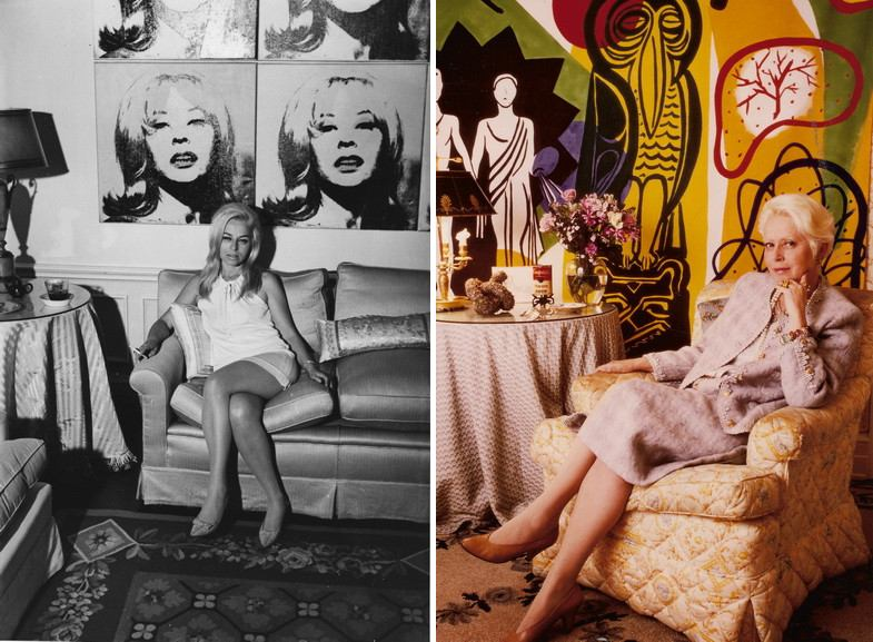 Left Holly at home with Andy Warhol portrait Right Holly in her New York Apartment