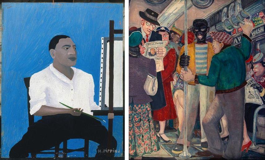 Horace Pippin - Self-Portrait, 1941, Palmer Hayden - The Subway, 1930s