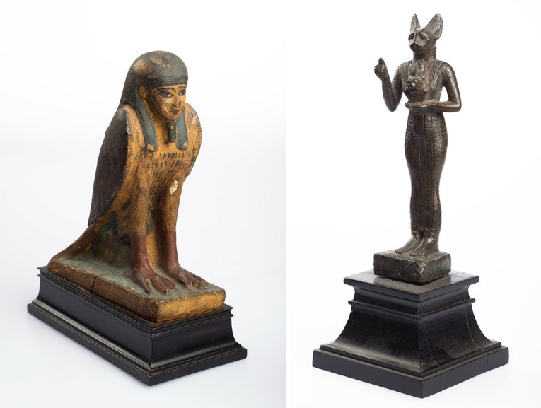 Left Human-headed Bird, Ptolemaic Period; 332-30 B.C. Right Egyptian Figure of Bastet, Late Period; 600 BC - 332 BC
