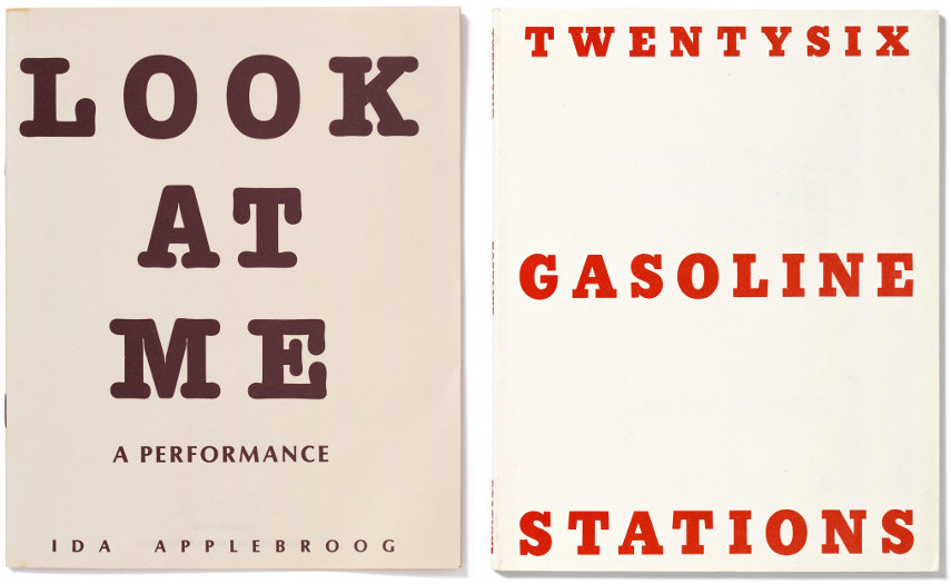 artists' book - Ida Applebroog - Look at me, A performance. (Dyspepsia Works) [o.O.], 1979, artists' book - Ed Ruscha - Twentysix Gasoline Stations