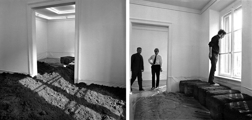 The artist installing the first Earth Room; you will like the view of the work in new york