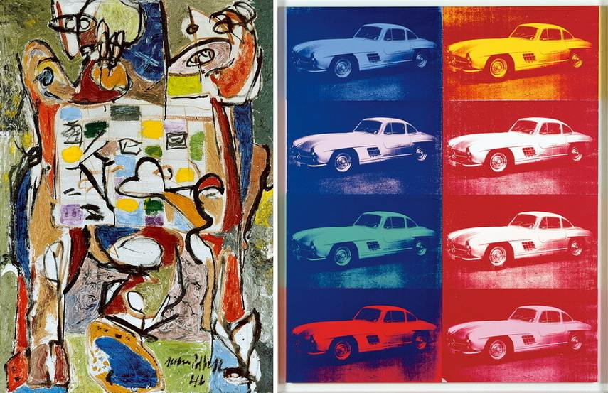 Left Jackson Pollock - The Tea Cup Right Andy Warhol - Mercedes Benz