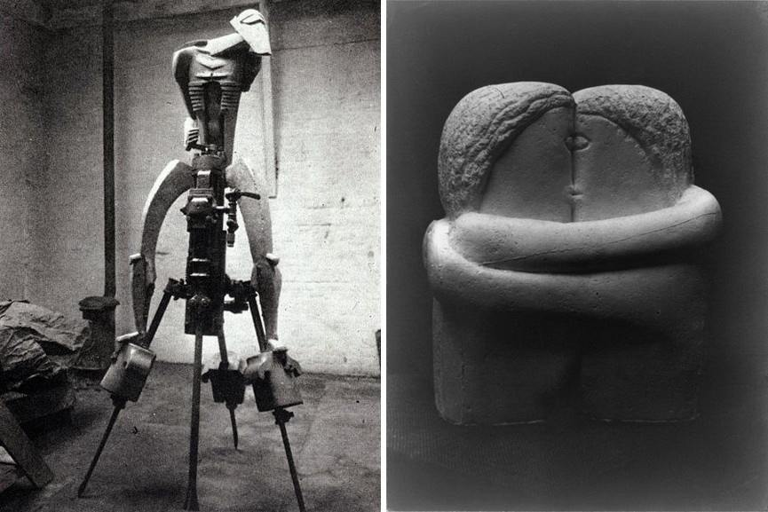 Left Jacob Epstein - The Rock Drill Right Constantin Brancusi - The Kiss