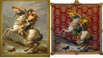 Left Jacques-Louis David, Le Premier Consul franchissant les Alpes au col du Grand Saint-Bernard Right Kehinde Wiley, Napoleon Leading the Army over the Alps