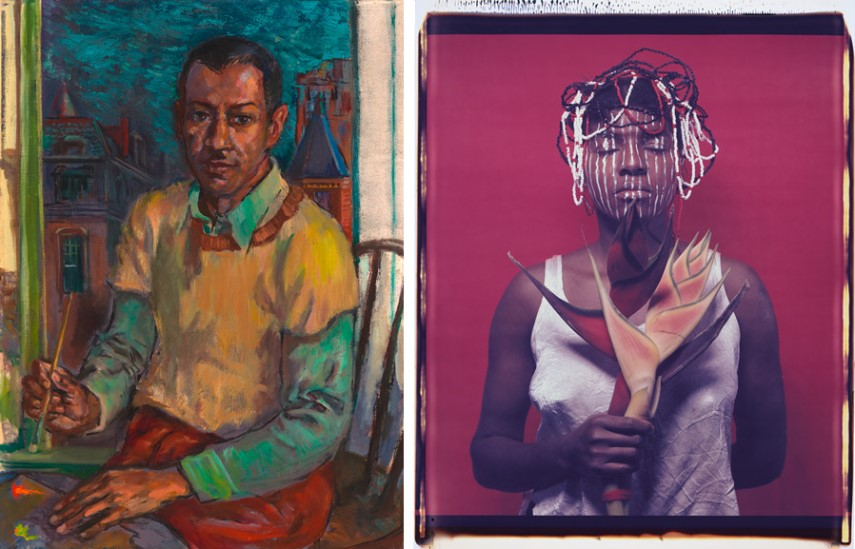 Left James Amos Porter - Self-Portrait Right María Magdalena Campos-Pons - Untitled