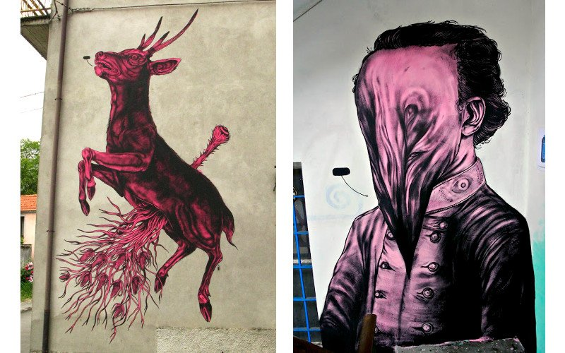 Left James Kalinda - Cardikdeer, Right James Kalinda - mural in Parma
