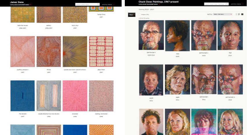 Digital Catalogue Raisonnés by Chuck Close and James Siena at Artifex - Search for complete foundation publications on prints and paintings