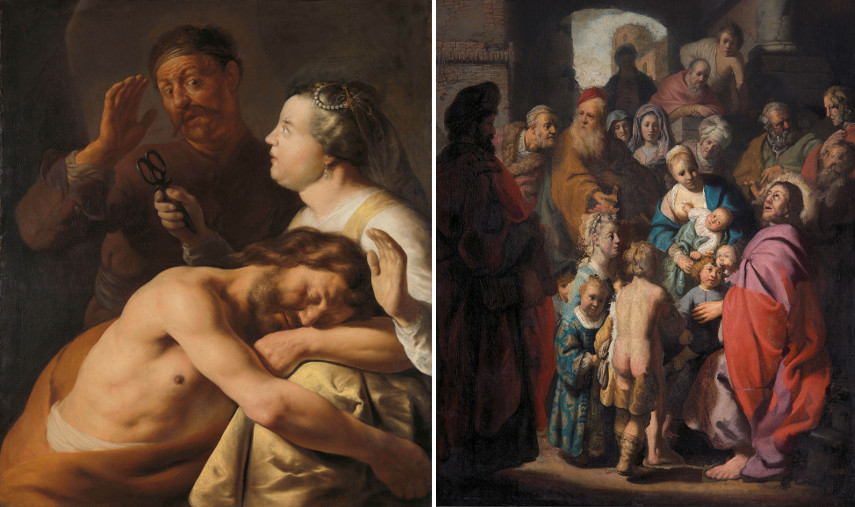 Left Jan Lievens - Samson and Delilah Right Rembrandt and others - Let the Little Children