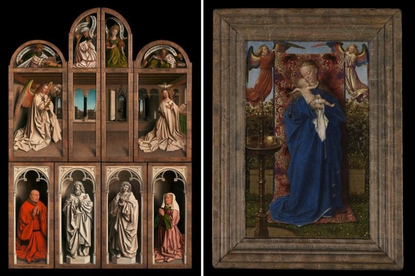 Left Jan and Hubert van Eyck - The Adoration of the Mystic Lamb Right Jan van Eyck - The Madonna at the fountain