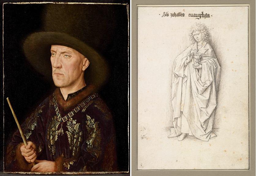 Left Jan van Eyck - Portrait of Baudouin de Lannoy Werkstatt, by Jan van Eyck - The Twelve Apostles