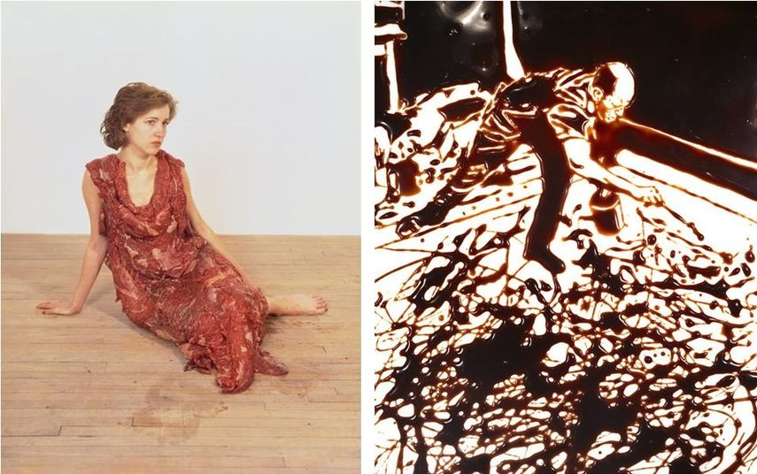 Left: Jana Sterbak - Vanitas, Flesh Dress for An Albino Anorectic, 1987 / Right: Vik Muniz - Action Photo, after Hans Namuth, via vikmuniz.com