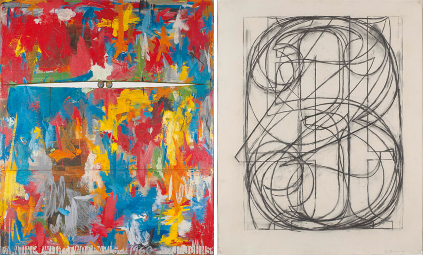 Left Jasper Johns - Painting with Two Balls, 1960 Right Jasper Johns - 0 Through 9, 1960