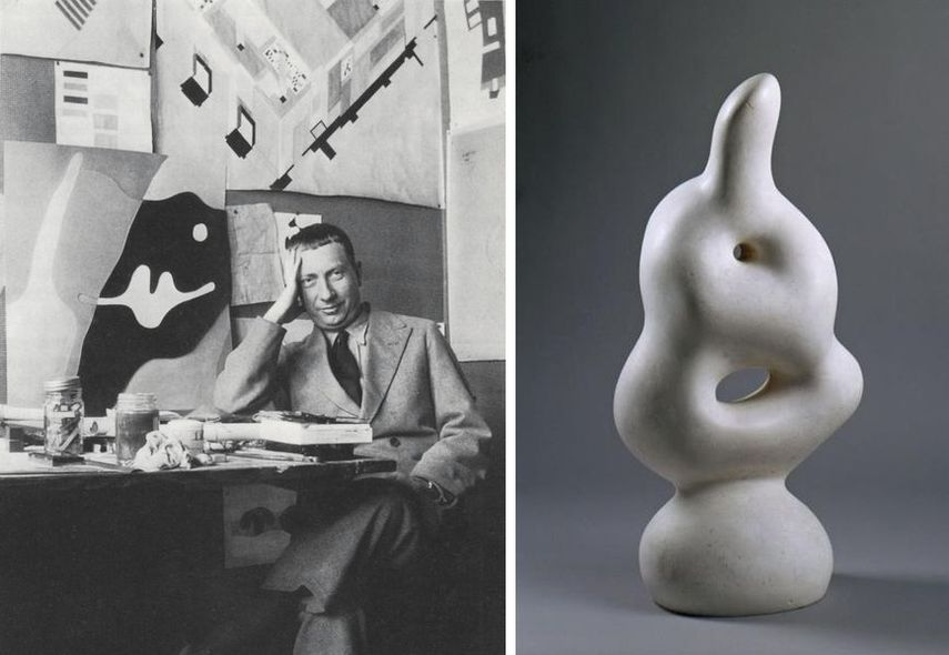 in his studio, jean arp investigated and worked with bronze as well. it the end, his love for white and abstract style design prevailed.