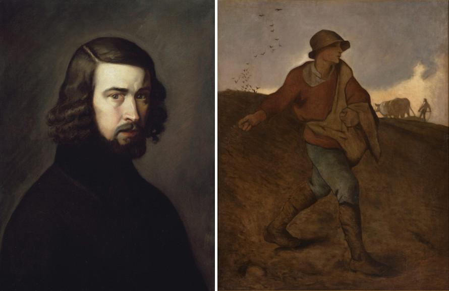 Left Jean-Francois Millet - Self-Portrait Right Jean-Francois Millet - The Sower