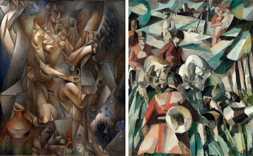 Left Jean Metzinger -La Femme au Cheval (Woman with a Horse), 1911-12 Right Albert Gleizes - La Chasse (The Hunt), 1911