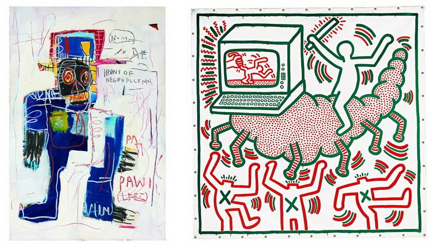 Left Jean-Michel Basquiat - Irony of a Negro Policeman Right Keith Haring - Untitled