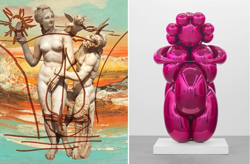 Left Jeff Koons - Antiquity 1 Right Jeff Koons - Baloon Venus Magenta
