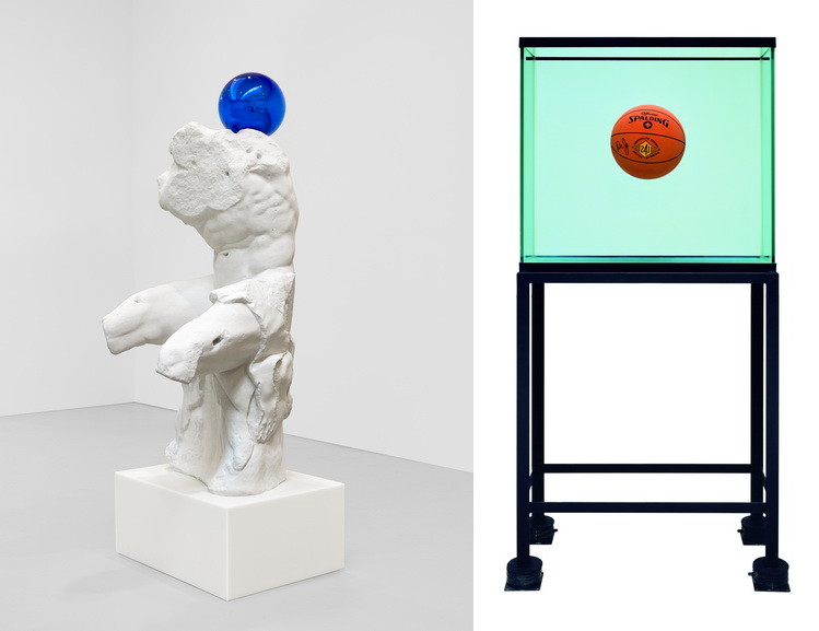 Left Jeff Koons - Gazing Ball Right Jeff Koons - One Ball Total