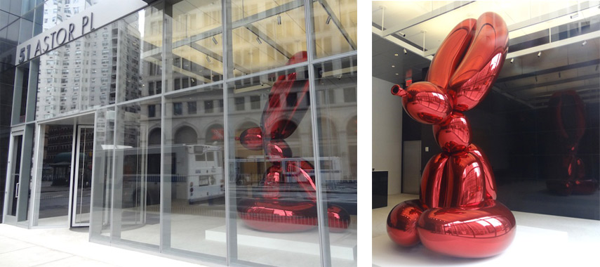 Left: Jeff-Koons - Public Sculpture, Astror Place, New York / Right:Jeff Koons - Balloon Bunny, detail. Images via blogs.artinfo.com
