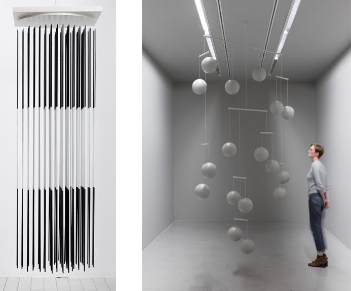 Left Jesús Rafael Soto, Torre vibrante blanco y negro, 1968 Right Xavier Veilhan - Mobile n°4, 2017