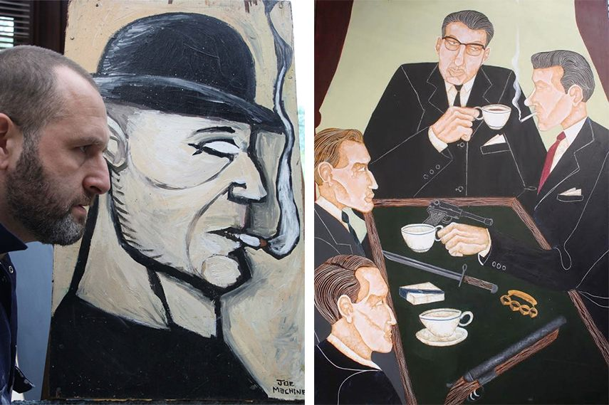 Left: Joe Machine - Portrait - image via artist's website / Right: The Krays - The firm - Tea at Valence Road 2012 like