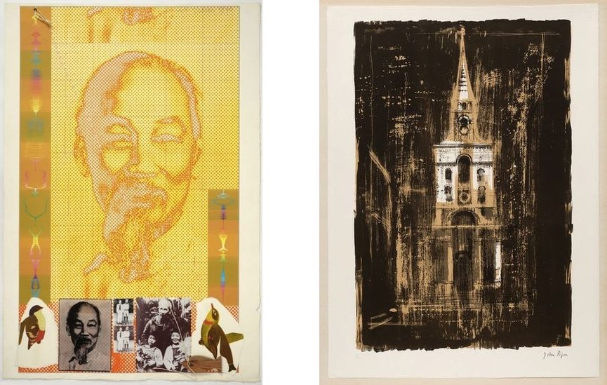 Joe Tilson - Ho Chi Minh, 1970, John Piper - Christ Church, Spitalfields, London, by Nicholas Hawksmoor, 1964