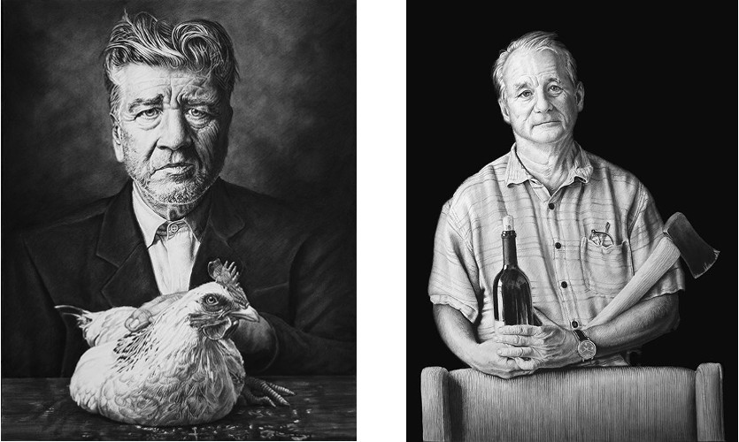 Left: Joel Daniel Phillips - David s Lunch - Miscellaneous Series - 2014 / Right: Joel Daniel Phillips - Bill - Miscellaneous Series - 2013