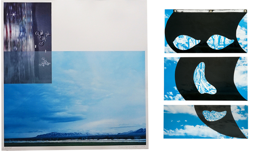 Left John Baldessari The Overlap Series Double Motorcyclists and Landscape Icelandic 2003 Right Vito Acconci Face Flag