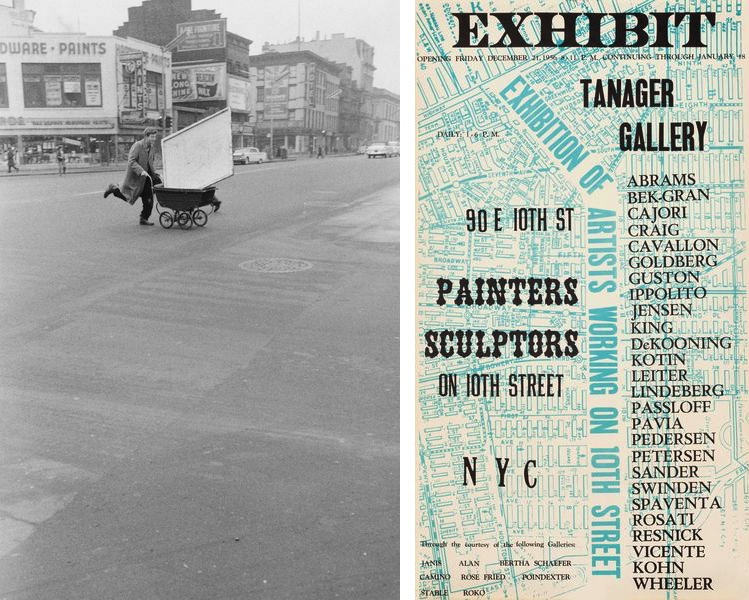 """John Cohen - Red Grooms transporting artwork to Reuben Gallery, New York, 1960, Collection of Lois Dodd, New York Angelo Ippolito's poster for the """"Painters Sculptors"""" exhibition at Tanager Gallery, New York City, 1956"""