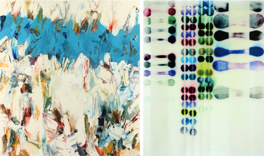 Left: John DiPaolo - Blue Band, 2015. Oil on canvas, 72 x 60 in / Right: Jaq Chartier - Test w/ Blue and Greens, 2015. Acrylic, ink, stains, and spray paint on wood panel, 36 x 28 in