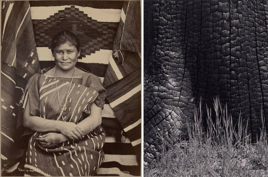 Left John K Hillers - Heaipu Navaho Woman Right Ansel Adams - Grass and Burned Stump