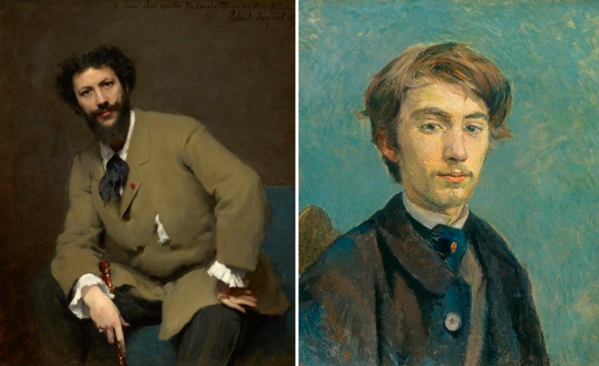 Left John Singer Sargent - Carolus-Duran, Right Henri de Toulouse-Lautrec - Portrait of Emile Bernard