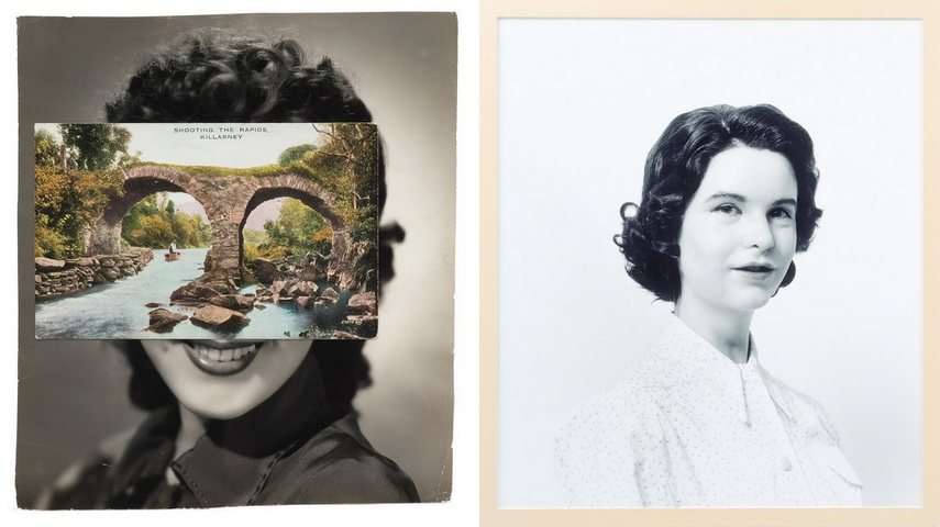 Left John Stezaker - Mask Right Gillian Wearing - Self Portrait as My Mother