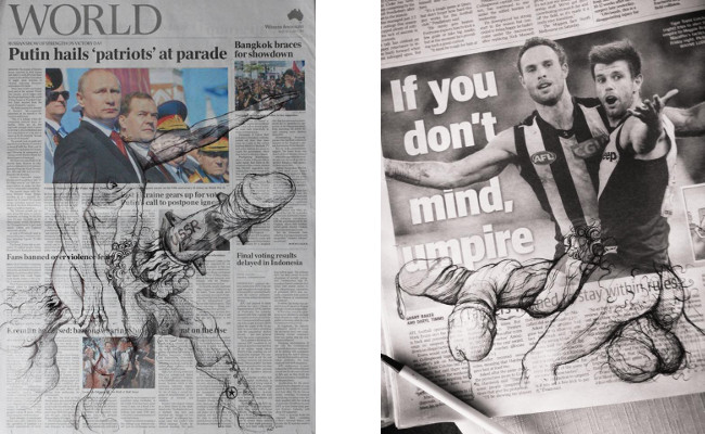 Left - Jonathan Guthmann - Putin is bringing big things to the G20, 2014, credits - Drawing Dick on the Herald Sun, Right - Jonathan Guthmann - Eternally Bound, 2014, credits - artist, pen on newspaper