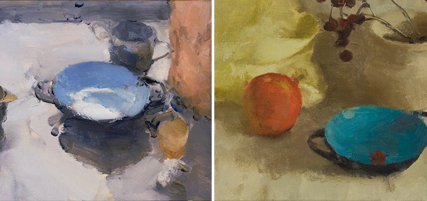 Left - Jordan Wolfson - Still Life With Turquoise Bowl II, 2003 - Right - Jordan Wolfson - Still Life with Rosehips and Turquoise Bowl, 2011