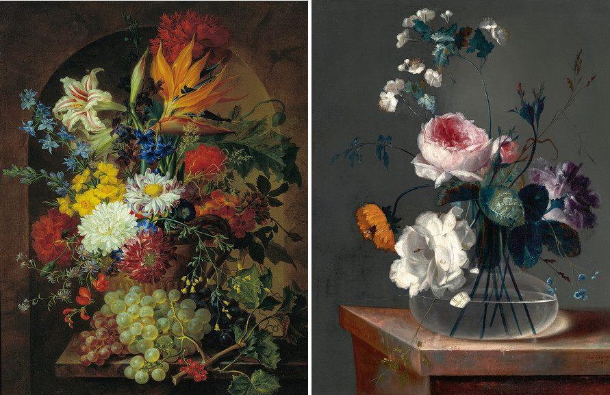Left Josef Nigg – Bunch of flowers Right Johann Baptist Drechsler – Flower still life