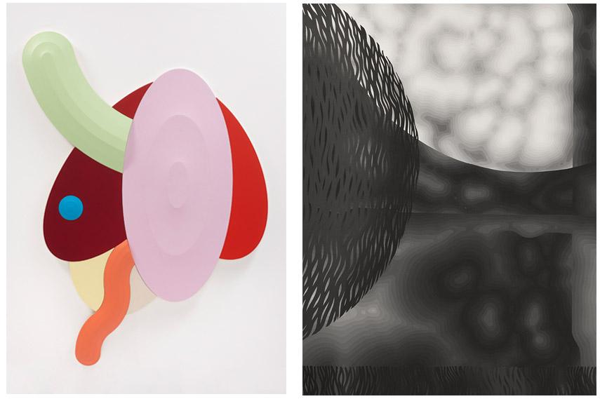 Left - Josh Sperling, Skipping Stones. Right - Sam Friedman, Untitled 50. Joshua Liner Gallery