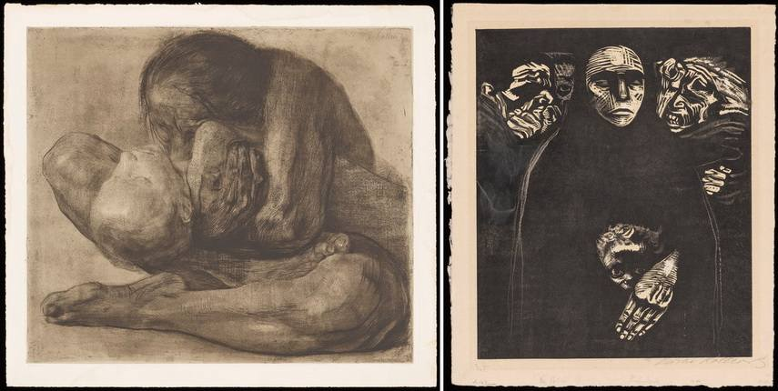 Left Käthe Kollwitz - Woman with Dead Child Right Käthe Kollwitz - The People