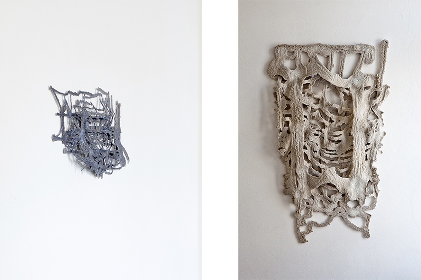 Left: Kai Franz - Untitled Plopps No. 101 (detail) / Right: Kai Franz - Lump as Particle Carcass