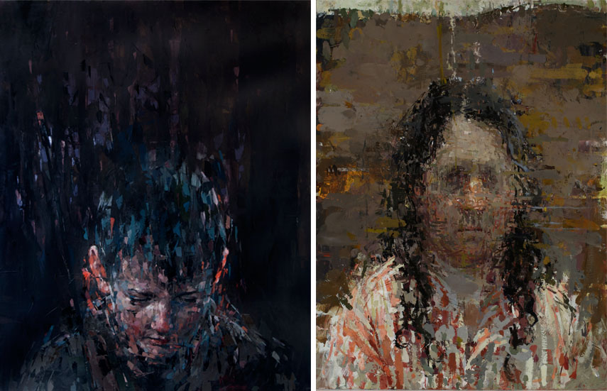 Left: Kai Samuels Davis - The Wait, 2015. Oil on canvas, 60 x 48 in / Right: Ann Gale - Gale Self Portrait, 2015. Oil on copper, 14 x 11 in